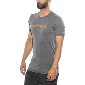 Aclima Lightwool Logo T-Shirt Heren, iron gate
